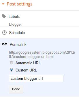 Настраиваемые адреса постов в Blogger