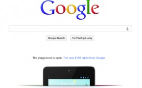 Реклама Nexus 7 на домашней странице Google